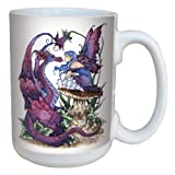 Tree-Free Greetings lm43585 Fantasy The Staring Contest Fairy and Dragon Ceramic Mug with Full Sized Handle by Amy Brown, 15-Ounce