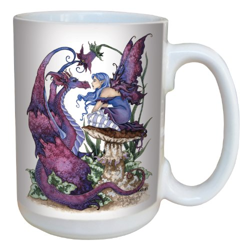 (Fantasy The Staring Contest Fairy and Dragon Large 15-Ounce Ceramic Coffee Mug Cup by Amy Brown - Fairies Gift - Tree-Free Greetings lm43585 )