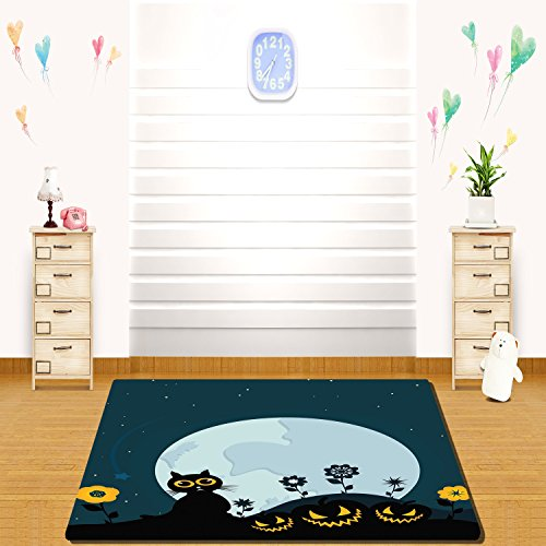 HAIXIA rugs Halloween Decorations Cute Cat Moon on Floral Field with Starry Night Sky Star Cartoon Art Blue (Five Nights 4 Halloween Update)