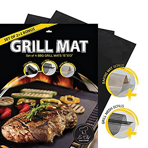 La-Chef Grill Mat -BBQ Mats for Gas,Charcoal,Electric Grills -Reusable (Set of 4)- Keep Grill Marks and Flavor (Paver Fire Pit)