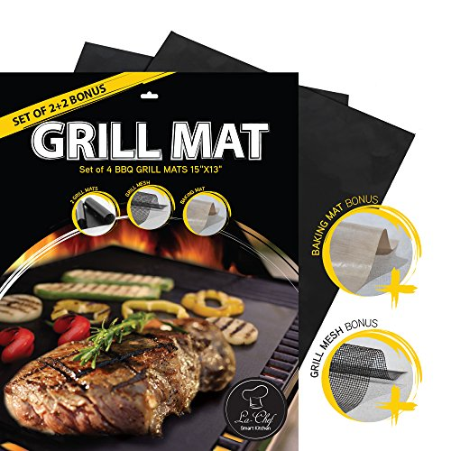 La-Chef Grill Mat -BBQ Mats for Gas,Charcoal,Electric Grills -Reusable (Set of 4)- Keep Grill Marks and Flavor Intact (Patio Paver Cleaner)
