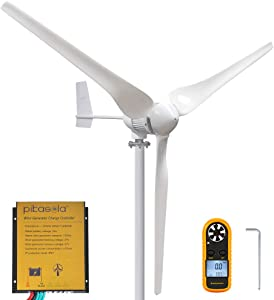 PIKASOLA 1000W 24V Permanent Magnet Wind Turbine Generator 3 Blades Economy Homes Windmill for Wind Solar Hybrid System 2.5m/s Start Wind Speed with Controller for Wind Solar System (24V)