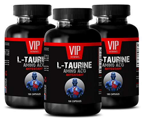 Taurine Tablets - L-TAURINE 500MG - Cholesterol Pills 3 Bottles 300 Capsules