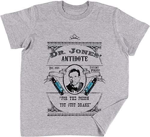 Vendax Dr Jones Antídoto- Indiana Jones Niños Chicos Chicas Unisexo Camiseta Gris: Amazon.es: Ropa y accesorios