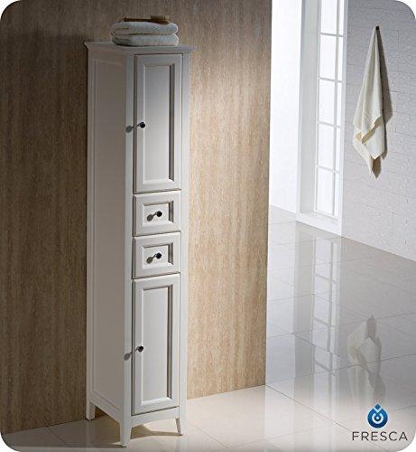 Fresca Bath FST2060AW Oxford Antique Bathroom Linen Cabinet, Tall, White