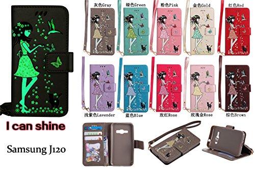 Galaxy J1 (2016) J120(4.5 zoll) Hülle Flip-Case Premium Kunstleder Tasche im Bookstyle Klapphülle mit Weiche Silikon Handyhalter Lederhülle für Samsung Galaxy J1 (2016) J120 Luminous Mädchen Katze cas 1