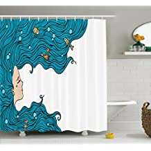 Mermaid Decor Shower Curtain Set By Ambesonne, Girl With Big Hair Hairstyle Fly Away Fairytale Sleeping Crab Imaginary Artwork, Bathroom Accessories, 84 Inches Extralong