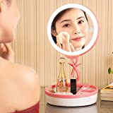 SYlive Makeup Mirror Table Lamp - Rechargeable Touch 28 LED Light Folding Mirror Lamp (Pink)