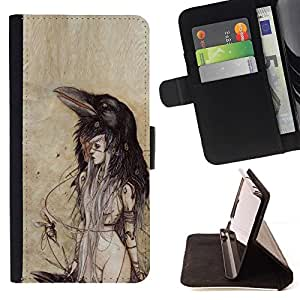 - Crow Woman Watercolor Parchment/ Personalized Design Custom Style PU Leather Case Wallet Flip Stand - Cao - For LG Volt 2 / LG G4 Mini (G4c)