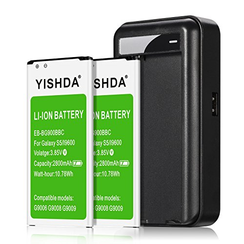 YISHDA Galaxy S5 Active Battery, 2x2800mAh Replacement Samsung Galaxy S5 Battery with Charger for I9600 G900F G900V G900T G900A | Samsung S5 Batteries Charger Kit [18 Month Warranty]