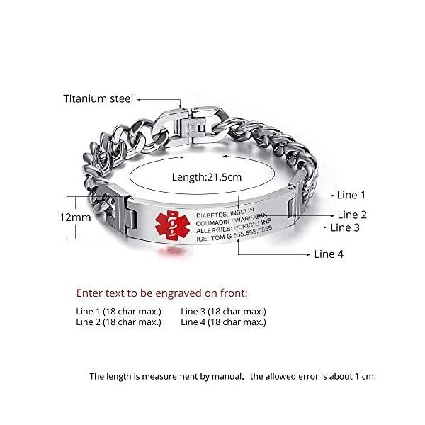 Grand Made 8,5 pulgadas gratis pulsera de grabado de emergencia médica para hombres ID Wrap for Adult Awake Bracelet Titanium Steel Medical Medical pulsera para mujeres 2