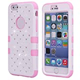 Cuitan 3 in 1 Case Cover for Apple iPhone 6 plus/6s plus (5.5 Inch), Soft Silicone Inner Case and PC Hard Front Back Cover Rhinestone Diamond Bling Full Protective Case Shell Sleeve - White + Pink