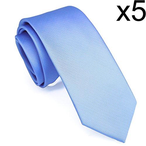 Skinny Solid Color Neckties Wedding Ties for Groomsmen 5 Pack ST513 by ZENXUS