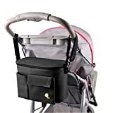 JDWNF Insulated Baby Stroller Organizer for Moms, Durable Stroller Travel bags fits all Strollers, Zip off Pouch, Removable Shoulder Strap, Deep Cup Holders, Mesh Bag for Extra Storage (Black)