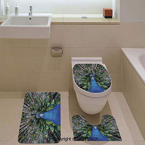 aosup Three-Piece Toilet seat pad Custom Magnificent Peacock Portrait with Colorful Feathers Photo Pattern Rug + Lid Toilet Cover + Bath Mat/Non-Slip/Pedestal Digital Print Fashion Art ()