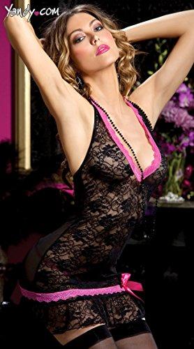 ZHFC-Señoras ropa interior de encaje y gasa negro transparente mujer ropa de dormir M