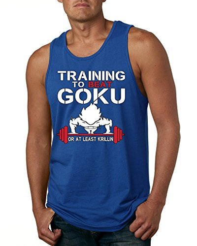 Royal Blue Training Top - Training To Beat Goku or At Least Krillin Men's Fashion Tank Top (Royal Blue , 2XL )