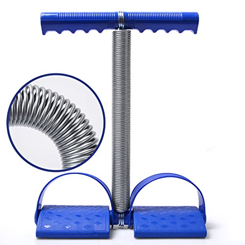 Elastic Sit Up Pull Rope Spring Tension Rope Foot Pedal Abdominal Exerciser Equipment Fitness Yoga (Blue)