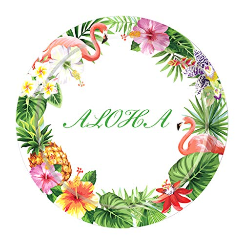 (24 Pack Aloha Summer Plates Bright Colorful Pineapple Flamingo Tropical Hawaiian Party Dinner Plates Tableware Decorations for Baby Shower Beach Party)