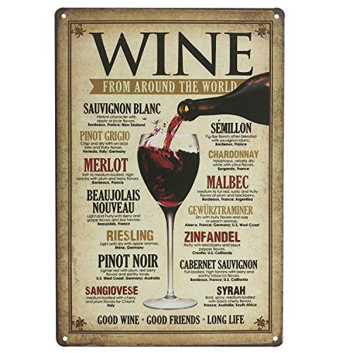 Bar Around - UNIQUELOVER Wine from Around The World Retro Vintage Tin Sign for Pub Bar Decorative Sign 12