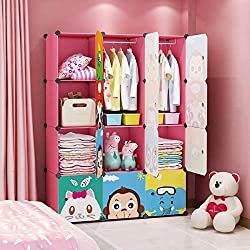 MAGINELS Children Wardrobe Kid Dresser Cute Baby Portable Closet Bedroom Armoire Clothes Hanging Storage Rack Cube Organizer Large Pink 8 Cube & 2 Hanging Section