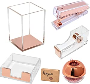 Acrylic Desk Organizer Accessories Set Office Supplies Stationery, Tape Dispenser, Stapler, Sticky Notes Tray, Magnetic Paper Clips Holder, Pen Pencil Cup Make-up Brushes Holder(Clear Rose Gold)