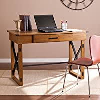 Southern Enterprises Canton Adjustable Height Desk 47.75 wide, Glazed Pine Finish