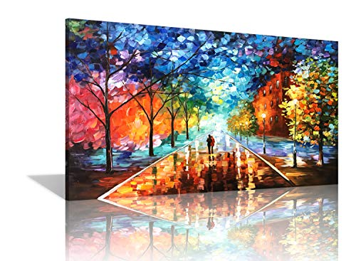 (Diathou 24x36 inches 100% Hand Painted Oil Painting Lovers Stroll The Colorful Streets Oil Painting canvases Abstract Works of Art Wood Carving Interior Frame Wall Hanging Decorative Oil Paintings)