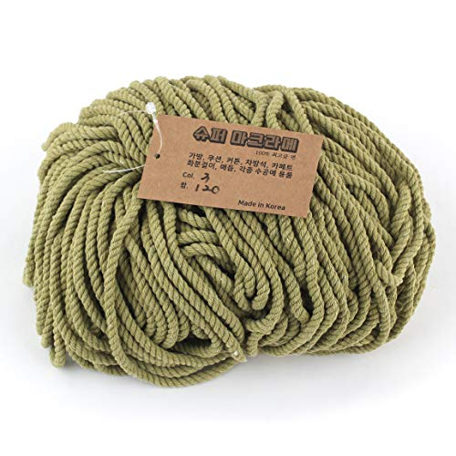 Super Macrame Cord 5mm x 87yd (80m) Olive Color Natural Cotton Handmade Wall Hangings Plant Hanger Crochet Dream Catcher DIY Craft Rope ()