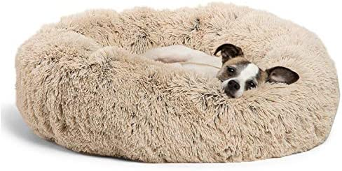 """Best Friends by Sheri Bundle Savings – The Original Calming Shag Donut Cuddler Dog Bed in Small 23″"""" x 23″"""" and Pet Throw Blanket in 30″"""" x 40″"""", Taupe"""
