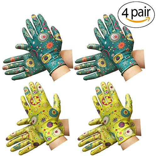 Clear Nitrile Garden Working Gloves - PROMEDIX - Comfort Flex Coated Work Gloves, Super Light Weight, Breathable Gloves, Fit Most Size & 2 Pairs of Assorted Color Gloves