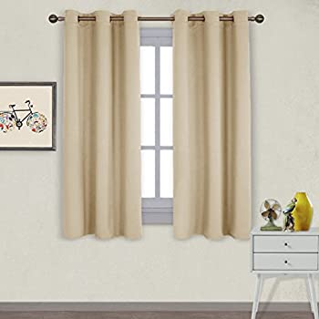 NICETOWN Thermal Insulated Grommet Room Darkening Curtains / Draperies / Panels for Bedroom (2 Panels
