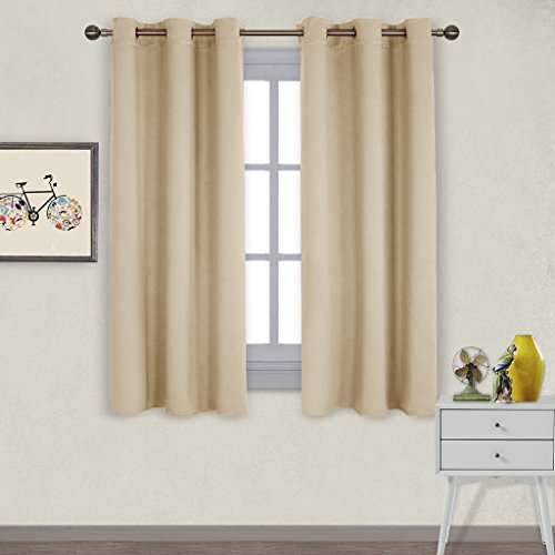 ulated Grommet Room Darkening Curtains / Draperies / Panels for Bedroom (2 Panels, W42 x L63 -Inch, Beige) (Garden Toile Fabric)