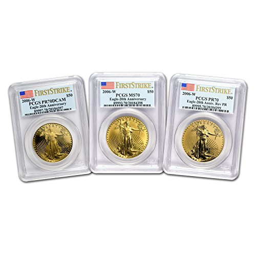 2006 W 3-Coin Gold Eagle Set MS/PR-70 PCGS (FS, Registry Set) PF70 ()