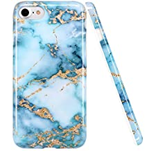 iPhone 6 6S Case, LUOLNH Blue and gold Marble Design Slim Shockproof Flexible Soft Silicone Rubber TPU Bumper Cover Skin Case for iPhone 6 4.7 inch