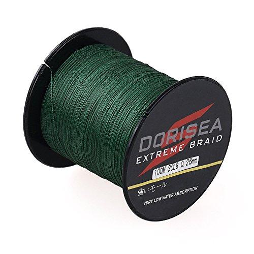 Dorisea Extreme Braid 100% Pe Braided Fishing Line 109Yards-2187Yards 6-300Lb Test Moss Green (300m/328Yards 90lb/0.50mm)