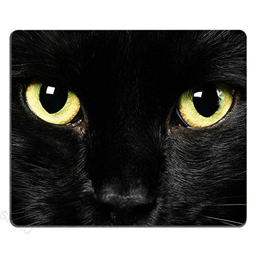 SSOIU Personalized Unique Design Oblong Shaped Mouse Pad Black Cat Face