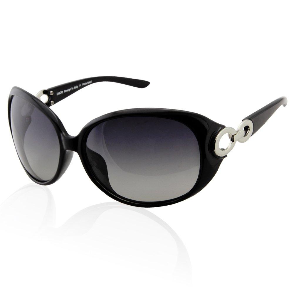 e7087c51445c DUCO Women s Classic Star Polarised Sunglasses 100% UV Protection 1220  (Black)  Amazon.co.uk  Clothing