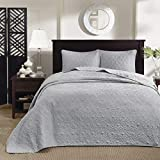 Madison Park Quebec King Size Quilt Bedding Set - Grey , Damask - 3 Piece Bedding Quilt Coverlets - Ultra Soft Microfiber Bed Quilts Quilted Coverlet