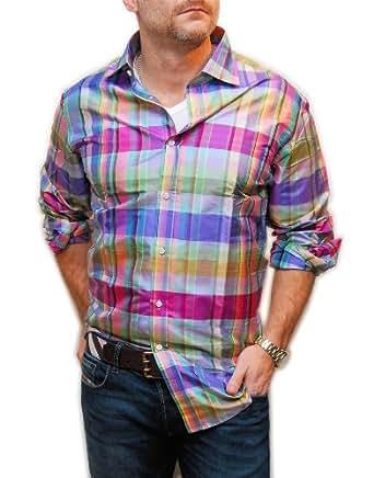 Ralph lauren purple label men silk dress shirt italy pink for Mens silk shirts amazon