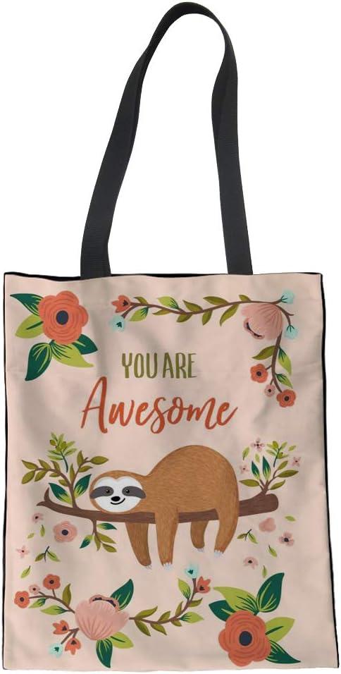 Nopersonality - Divertida bolsa de la compra de algodón para mujeres y niñas Bolsos Large Perezoso floral