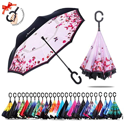 Amersin Double Layer Inverted Umbrella Cars Reverse Open Folding Umbrellas, Windproof UV Protection Large Self Stand Upside Down Straight Umbrella for Golf Women and Men with C-Shaped ()