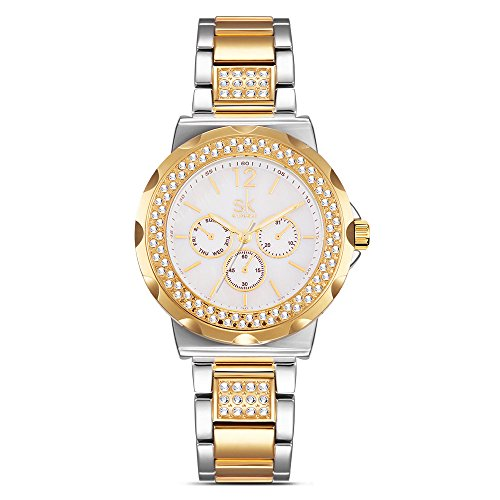 Price comparison product image Women Diamond Analog Wrist Watch Girls Crystal Luxury Watches Clock Relogio Feminino (0032 Gold)