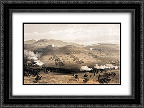 - William Simpson 2X Matted 24x18 Black Ornate Framed Art Print 'Charge of The Light Cavalry Brigade, 25th Oct. 1854, Under Major General The Earl of Cardigan'