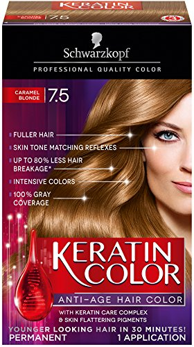 Schwarzkopf Keratin Color Anti-Age Hair Color Cream, Caramel Blonde 7.5