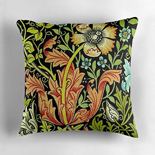 (Rdkekxoel William Morris Vintage Floral Wallpaper Decorative Throw Pillow Cover Square Cotton Cushion Case for Living Room Sofa Bedroom Car 18 x 18 Inch 45 x 45 cm)