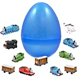 1 Jumbo Toy Filled Easter Egg With 12 Thomas The Train Figures - Prefilled Easter Eggs Save Your Time - Durable 6 Inch Egg in Bright Colorful Designs - Perfect As Cake Toppers And Kids Party Favors