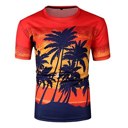 VEZAD 3D Shirt Men Round Neck Slim Casual Hawaiian Print Short Sleeve Tops Blouse -