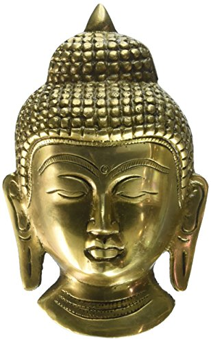 Cultural HubJ92-305GM-0095 Small Buddha Wall Hanging Mask - Brass Sculpture Height: 5.5 Inches -