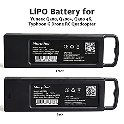 Morpilot M011004 3S 6300mAh 11.1V 70Wh Replacement LiPo Battery for Yuneec Tyhoon Q500, Q500+, Q500 4K, Typhoon G Drone RC Quadcopter